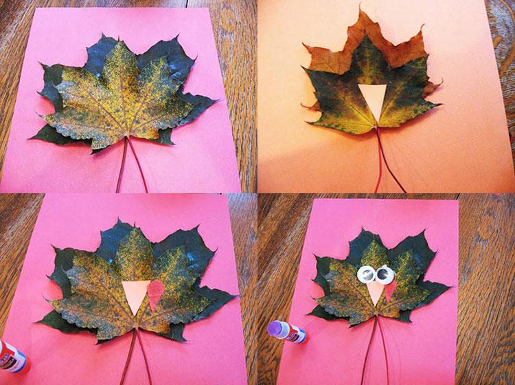 Аппликации из листьев на тему Осень: интересные поделки с фото 76 80