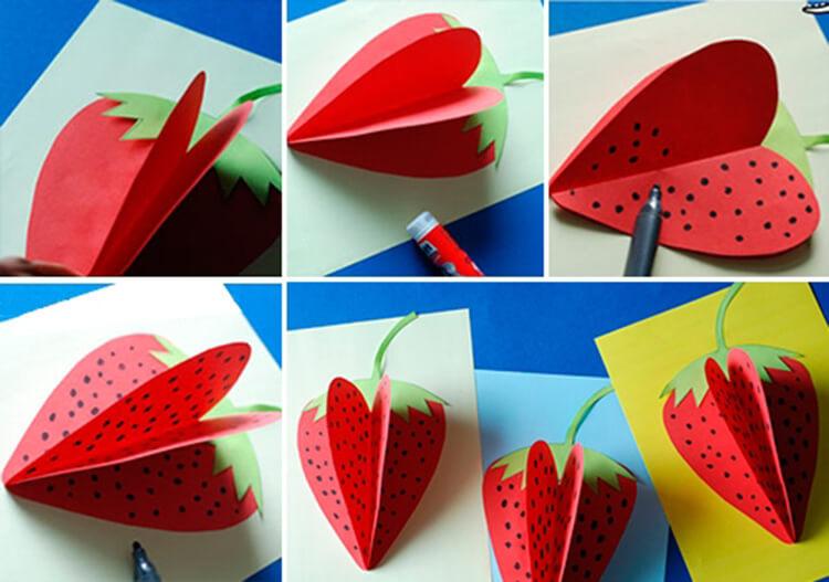 Открытка крестной, открытка фрукты из цветной бумаги