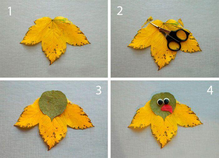 Аппликации из листьев на тему Осень: интересные поделки с фото applikacii iz listev 18