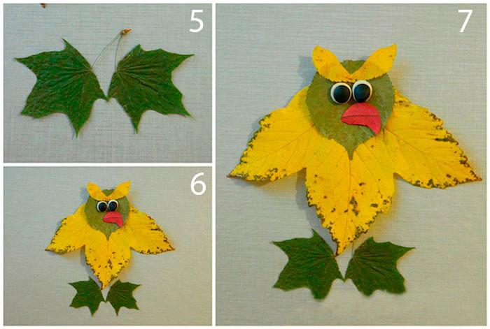 Аппликации из листьев на тему Осень: интересные поделки с фото applikacii iz listev 19