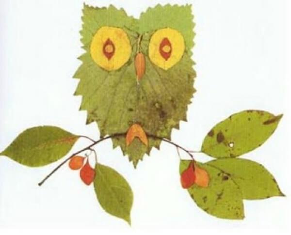 Аппликации из листьев на тему Осень: интересные поделки с фото applikacii iz listev 22