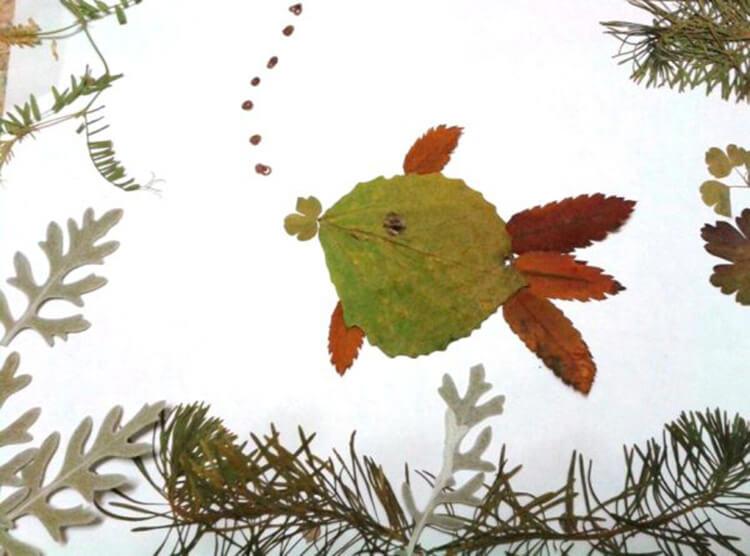 Аппликации из листьев на тему Осень: интересные поделки с фото applikacii iz listev 25