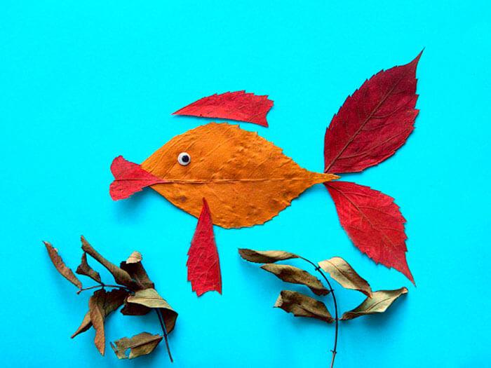 Аппликации из листьев на тему Осень: интересные поделки с фото applikacii iz listev 28