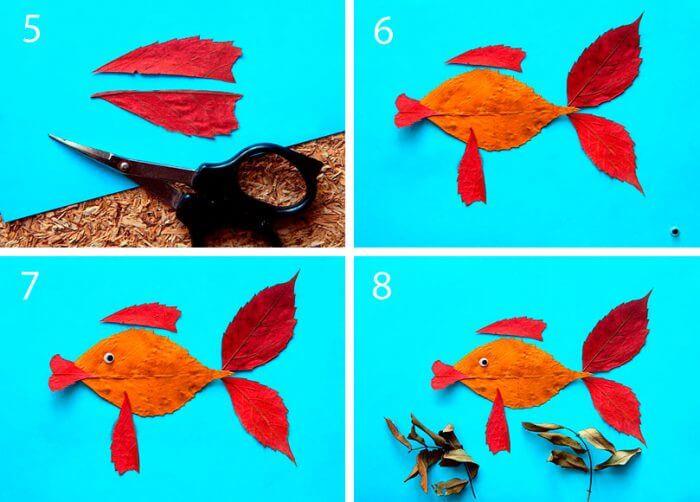 Аппликации из листьев на тему Осень: интересные поделки с фото applikacii iz listev 30