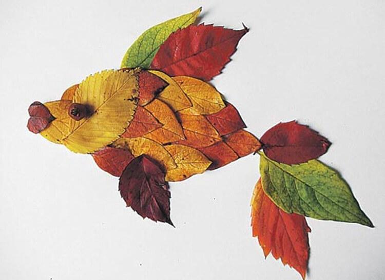 Аппликации из листьев на тему Осень: интересные поделки с фото applikacii iz listev 31
