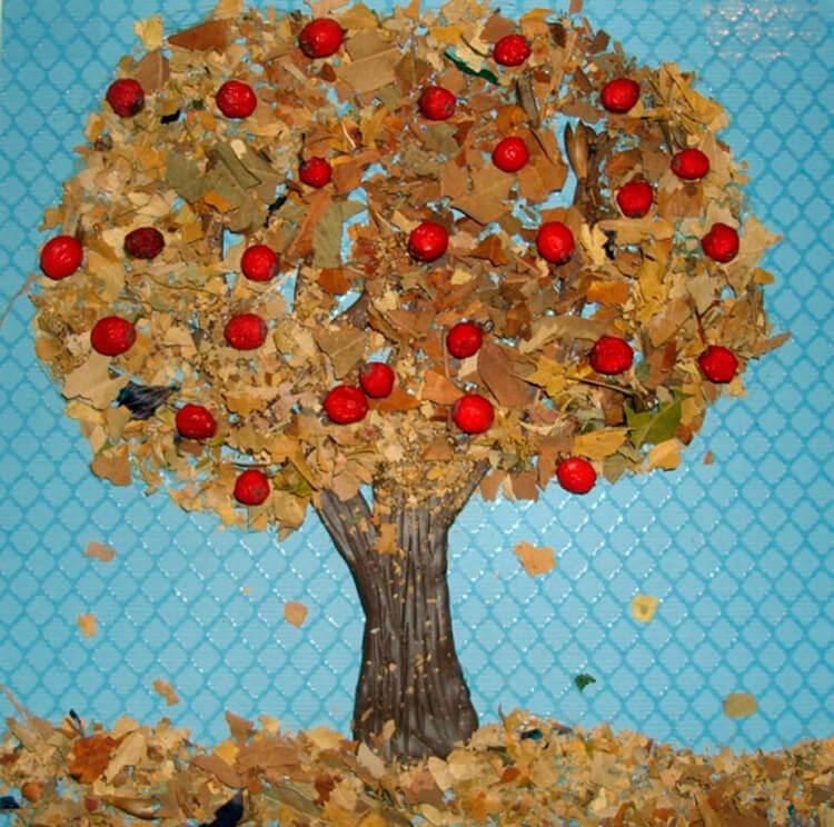Аппликации из листьев на тему Осень: интересные поделки с фото applikacii iz listev 34
