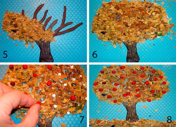Аппликации из листьев на тему Осень: интересные поделки с фото applikacii iz listev 36