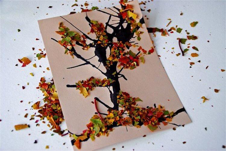 Аппликации из листьев на тему Осень: интересные поделки с фото applikacii iz listev 37