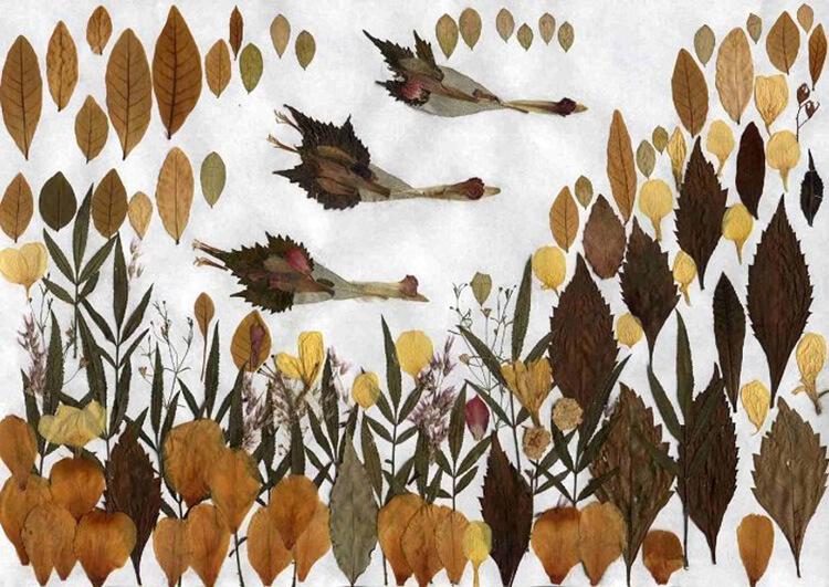 Аппликации из листьев на тему Осень: интересные поделки с фото applikacii iz listev 42