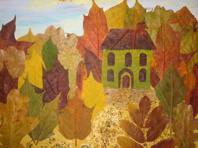 Аппликации из листьев на тему Осень: интересные поделки с фото applikacii iz listev 43