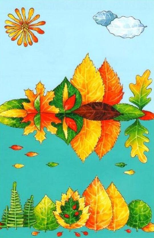 Аппликации из листьев на тему Осень: интересные поделки с фото applikacii iz listev 44