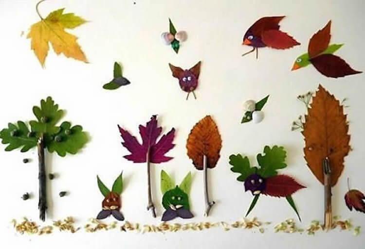 Аппликации из листьев на тему Осень: интересные поделки с фото applikacii iz listev 47