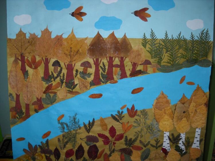 Аппликации из листьев на тему Осень: интересные поделки с фото applikacii iz listev 48
