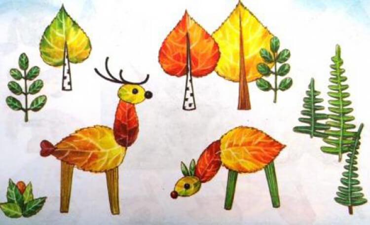 Аппликации из листьев на тему Осень: интересные поделки с фото applikacii iz listev 49