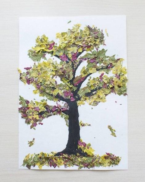 Аппликации из листьев на тему Осень: интересные поделки с фото applikacii iz listev 50