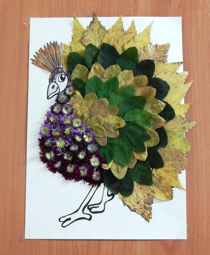 Аппликации из листьев на тему Осень: интересные поделки с фото applikacii iz listev 51