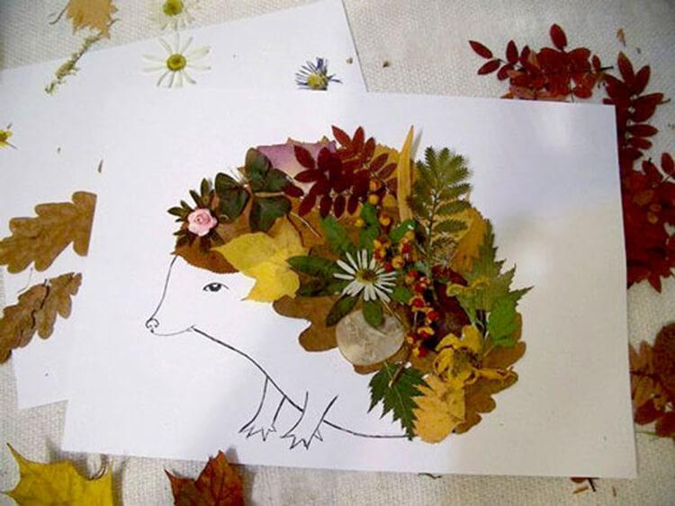 Аппликации из листьев на тему Осень: интересные поделки с фото applikacii iz listev 52