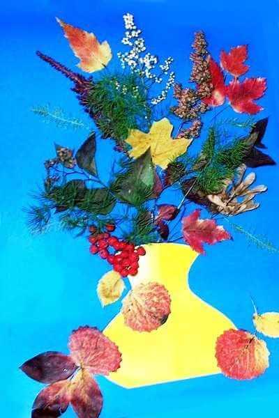 Аппликации из листьев на тему Осень: интересные поделки с фото applikacii iz listev 56