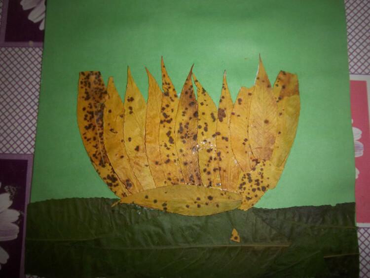 Аппликации из листьев на тему Осень: интересные поделки с фото applikacii iz listev 59