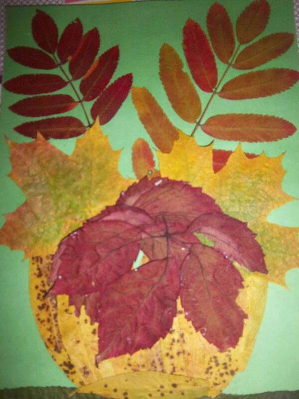 Аппликации из листьев на тему Осень: интересные поделки с фото applikacii iz listev 60