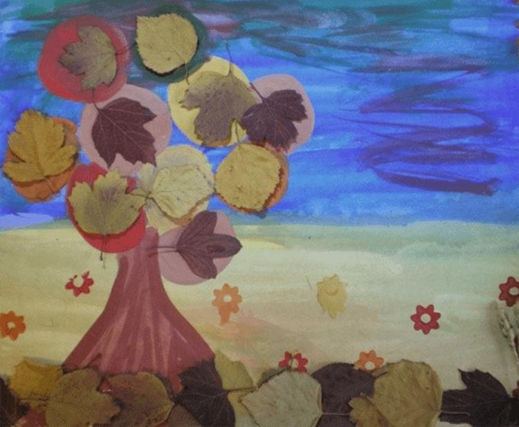 Аппликации из листьев на тему Осень: интересные поделки с фото applikacii iz listev 63