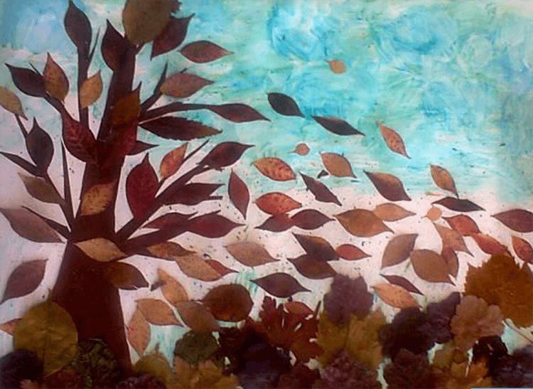 Аппликации из листьев на тему Осень: интересные поделки с фото applikacii iz listev 64
