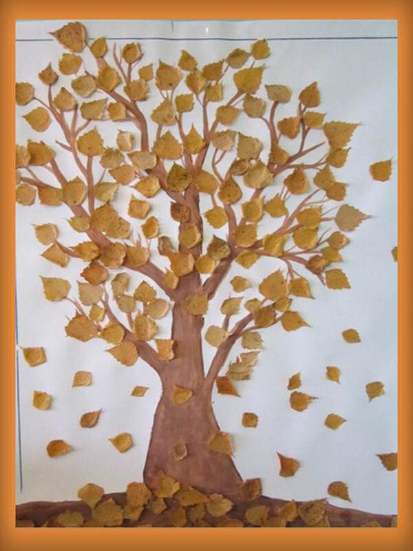 Аппликации из листьев на тему Осень: интересные поделки с фото applikacii iz listev 66