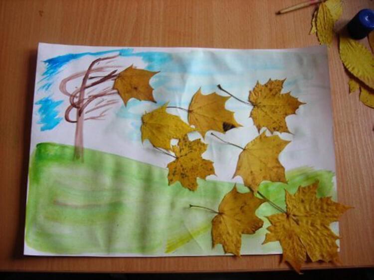 Аппликации из листьев на тему Осень: интересные поделки с фото applikacii iz listev 67
