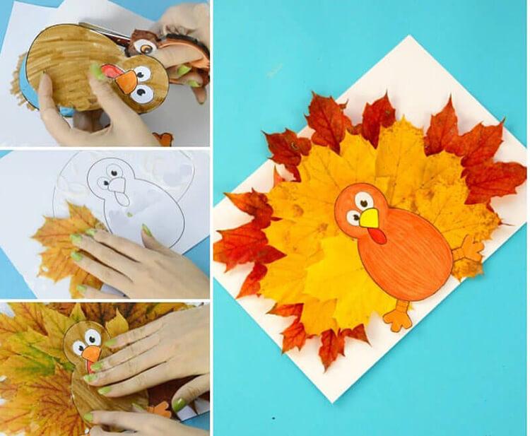Аппликации из листьев на тему Осень: интересные поделки с фото applikacii iz listev 73