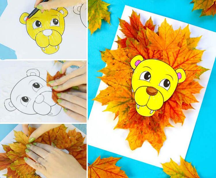 Аппликации из листьев на тему Осень: интересные поделки с фото applikacii iz listev 75