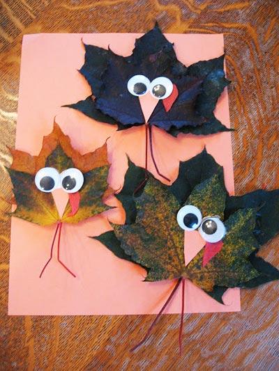 Аппликации из листьев на тему Осень: интересные поделки с фото applikacii iz listev 80