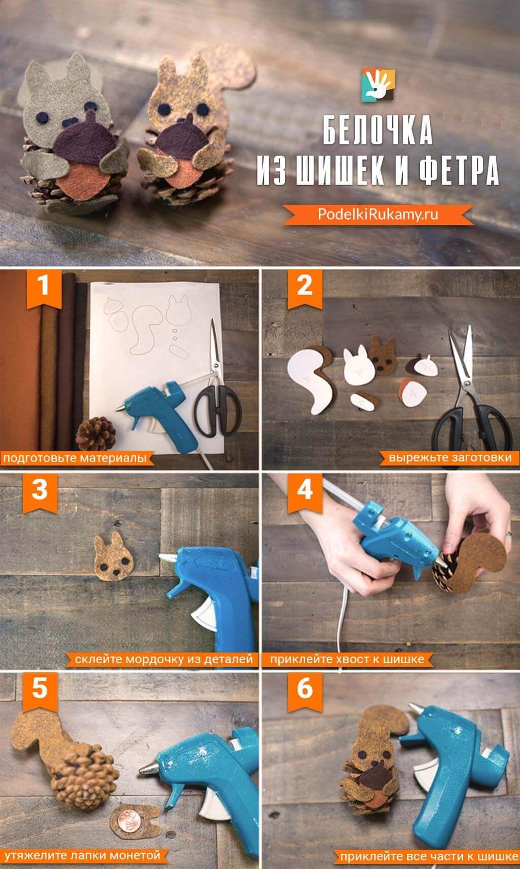 Как сделать белку из шишек: подробные мастер классы belka iz shishek podelka 16