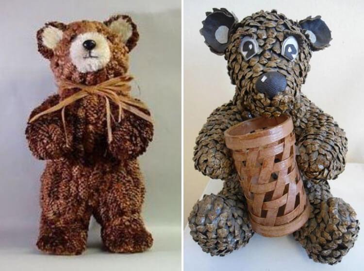 Как можно сделать медведя из шишек: варианты для детского сада kak sdelat medvedya iz shishek 1