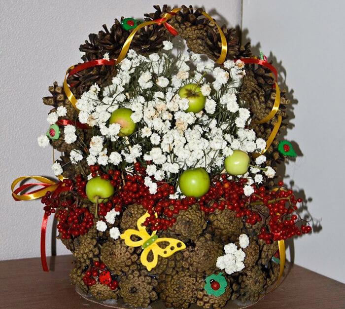 Корзина из шишек: интересная поделка и оригинальный декор для дома korzinka iz shishek 15