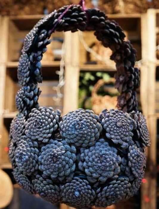 Корзина из шишек: интересная поделка и оригинальный декор для дома korzinka iz shishek 18