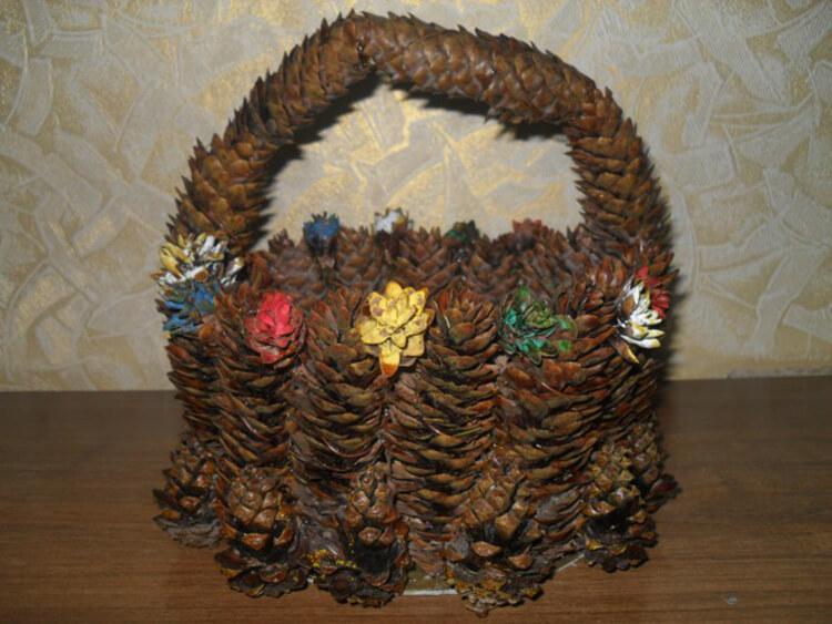 Корзина из шишек: интересная поделка и оригинальный декор для дома korzinka iz shishek 19