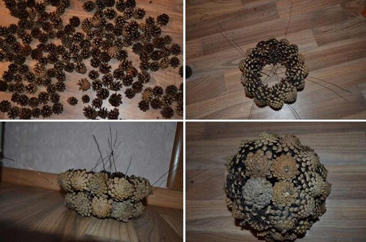 Корзина из шишек: интересная поделка и оригинальный декор для дома korzinka iz shishek 2