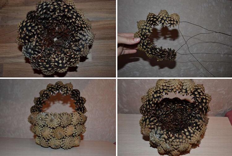 Корзина из шишек: интересная поделка и оригинальный декор для дома korzinka iz shishek 3