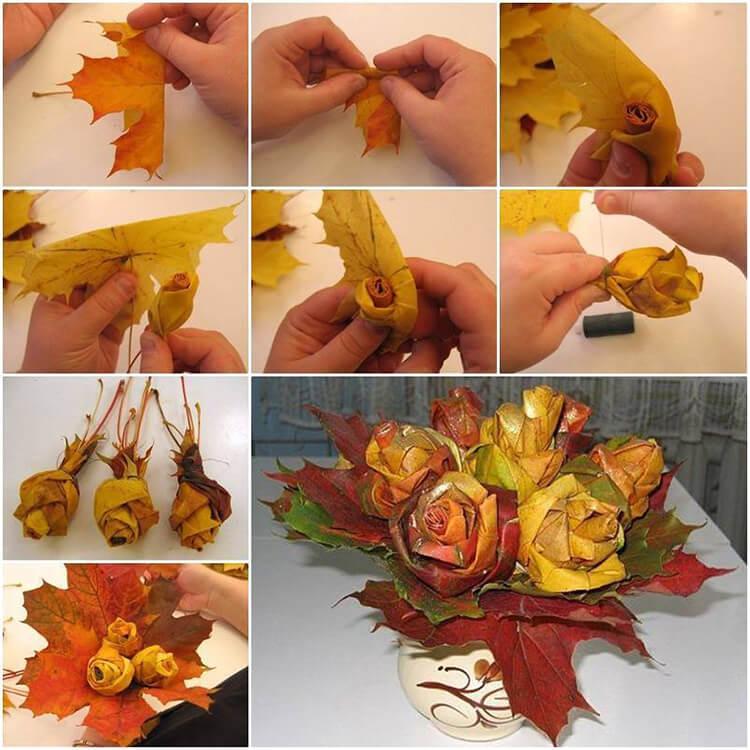 Интересные и красивые поделки из осенних листьев в садик и школу osennie podelki iz listev 32