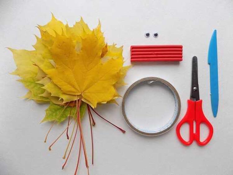 Интересные и красивые поделки из осенних листьев в садик и школу osennie podelki iz listev 45