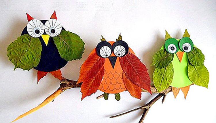 Интересные и красивые поделки из осенних листьев в садик и школу osennie podelki iz listev 59
