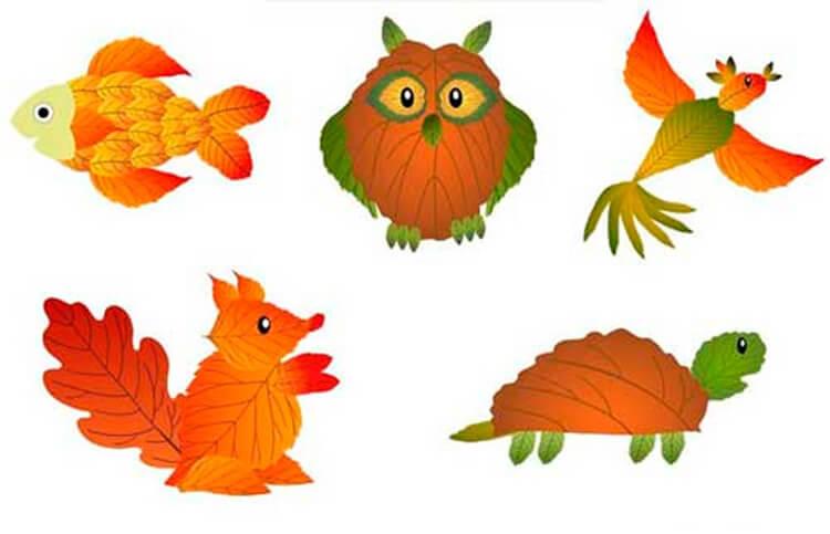 Интересные и красивые поделки из осенних листьев в садик и школу osennie podelki iz listev 68