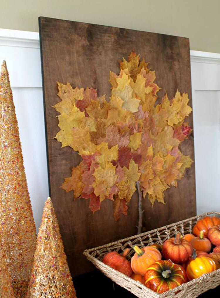 Дерево из листьев клена своими руками