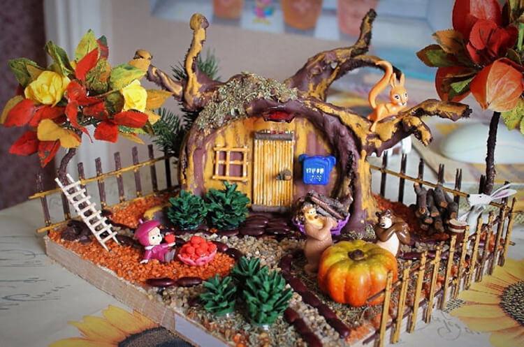 Интересные поделки из шишек в школу на тему Осень podelki iz shishek v shkolu 18