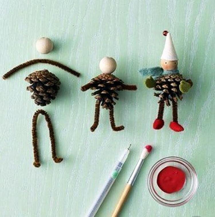 Интересные поделки из шишек в школу на тему Осень podelki iz shishek v shkolu 2