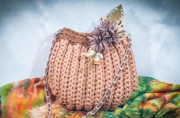 Сумка Ракушка крючком   красивый аксессуар из трикотажной пряжи sumka rakushka iz trikotazhnoj pryazhi 12