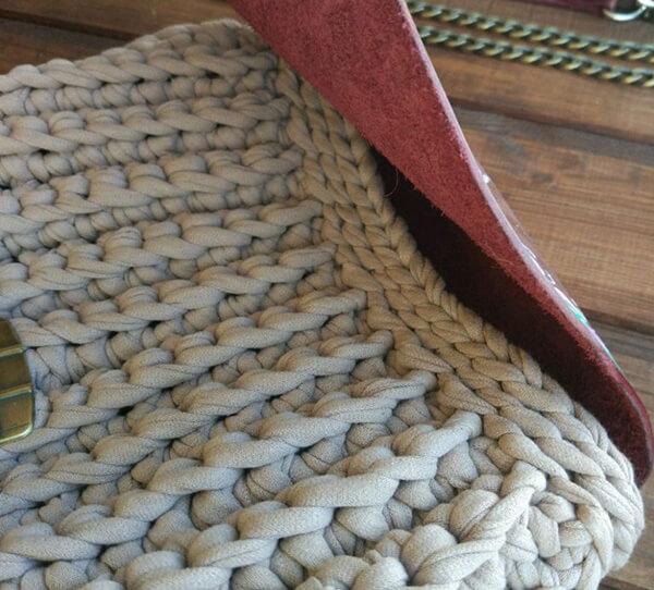 Сумка Ракушка крючком   красивый аксессуар из трикотажной пряжи sumka rakushka iz trikotazhnoj pryazhi 15