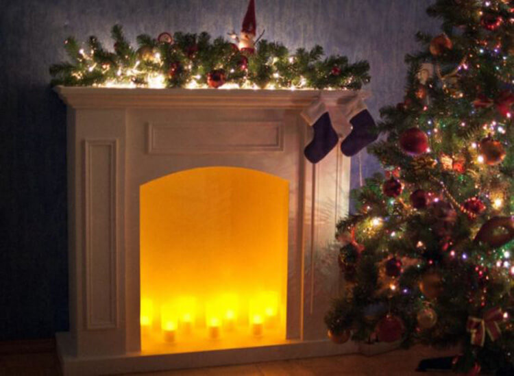 Декоративный камин как украшение комнаты на Новый год novogodnij kamin svoimi rukami 39