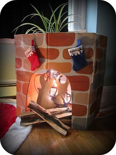 Декоративный камин как украшение комнаты на Новый год novogodnij kamin svoimi rukami 62