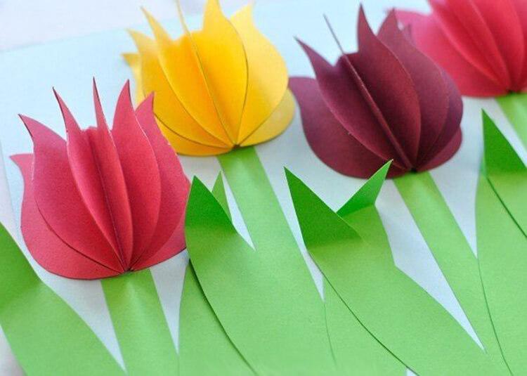 Тюльпан для открытки из цветной бумаги, именинником фото банан